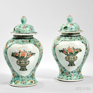 Pair of Famille Verte Covered Jars