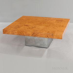 Milo Baughman for Thayer Coggin Burlwood Cocktail Table with Chrome Base