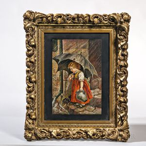 Micromosaic Plaque of a Girl with an Umbrella