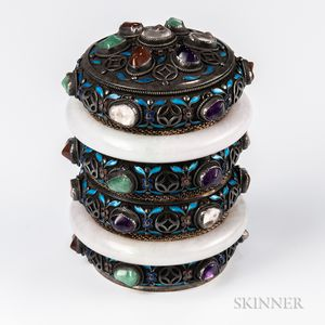 Gilt-copper and Gilt-silver Jeweled Filigree Canister