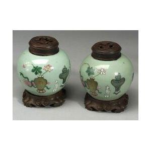 Pair of Celadon Jars