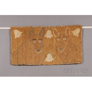 Cotton and Hemp Hooked Rug with Two Dogs