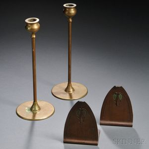 Arts & Crafts Candlesticks and a Pair of  Bookends