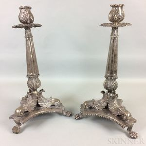 Pair of Large Silver Candlesticks with Acanthus Leaves