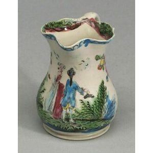 Staffordshire White Saltglaze Stoneware Enamel Decorated Cream Jug