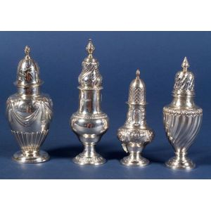 Four English Silver Muffineers