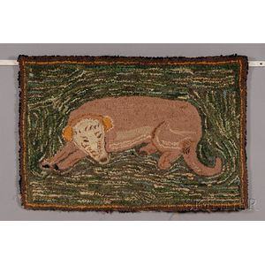 Shirred Wool Pictorial Hooked Rug with a Reclining Dog on a Green Ground