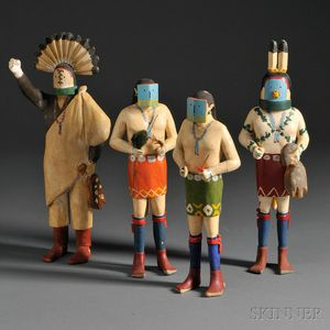 Four Navajo Carved Yeibichai Figures