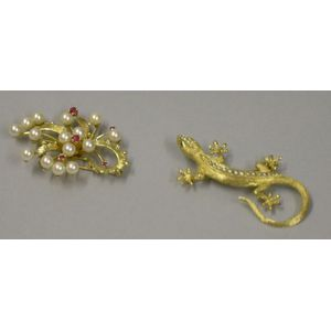 14kt Gold and Seed Pearl Lizard Pin and a 14kt Gold, Pearl, and Ruby Spray Brooch.