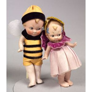 """All-Bisque Boy and Girl Dolls as """"Flower"""" and """"Bee,"""""""