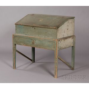 Blue-Painted Pine Desk-on-Frame