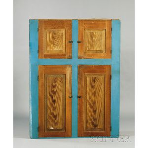 Blue-painted and Faux-grained Wooden Cupboard
