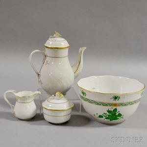 Herend Porcelain Sugar, Creamer, Teapot, and Bowl