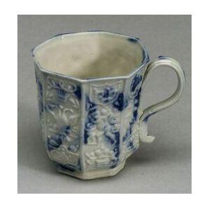 Staffordshire White Saltglaze Stoneware Blue Sponged Coffee Can