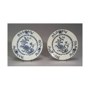 Two Blue and White Chinese Export Porcelain Plates