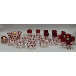 Twenty-four Pieces of Ruby Flash and Colorless Block Pattern Glass Tableware