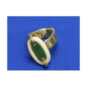 18kt Gold, Ivory, and Nephrite Ring.