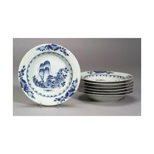 Seven Blue and White Chinese Export Porcelain Soup Plates