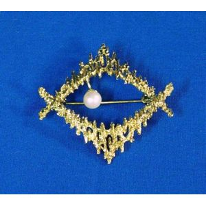 German Modernist 14kt Gold and Pearl Studded Pin and Grosse 14kt Gold Waterfall Pin.