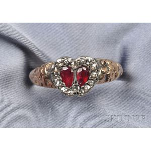 Antique Ruby and Diamond Sweetheart Ring