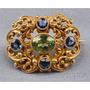 Antique 14kt Gold Gem-set Brooch, Durand & Co.