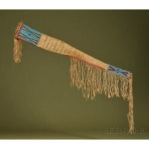Plains Beaded and Quilled Buffalo Hide Rifle Scabbard