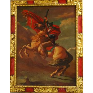Spanish or Spanish Colonial School, 19th Century      Equestrian Portrait of a Spanish Gentleman in a Red Cloak.