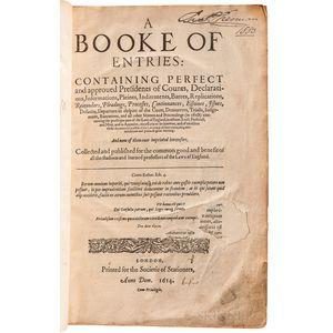 Coke, Sir Edward (1552-1634 ) A Booke of Entries.