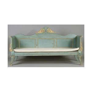 Continental Blue and Yellow Painted Pine Sofa