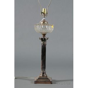 Silverplate and Colorless Glass Oil Lamp