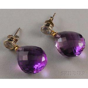 Pair of Amethyst and Cubic Zirconia Earrings