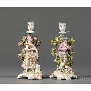 Pair of Samson-style Porcelain Figural Candlesticks