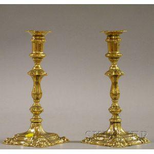 Pair of Rococo Brass Candlesticks
