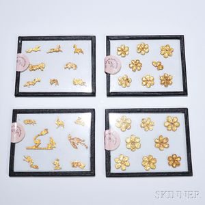 Four Glass Sleeves with Cut Gold Animals and Flowers