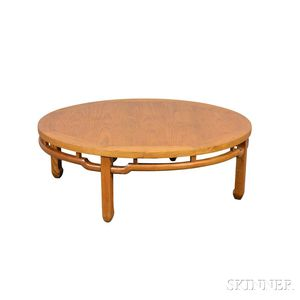 Asian-style Oak Round Coffee Table