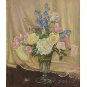 Mae Bennett Brown (American, 1887-1973)      Floral Still Life with Roses and Delphinium
