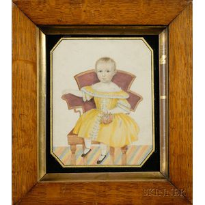 American School, 19th Century      Portrait of a Young Girl in Yellow Holding a Basket of Flowers.