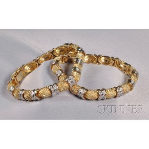 Pair of 14kt Bicolor Gold and Diamond Bracelets