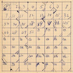 Merce Cunningham (American, 1919-2009)      Suite by Chance ,  Movement Chart Slow Phrases from III A-B-C-D-E and V C