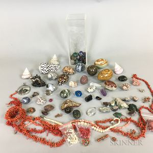 Group of Coral, Shells, and Glass and Stone Bead Necklaces.     Estimate $200-300
