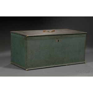 Blue-green Painted Pine Box.