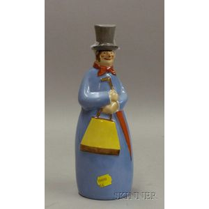 French Painted Porcelain Figural Bottle