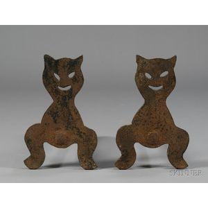 Pair of Cast Iron Cat Andirons