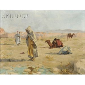 Robert Van Vorst Sewell  (American, 1860-1924)      Grateful Homage  /  Desert Landscape with Figures in Islamic Prayer