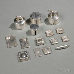Fifteen American Sterling Silver Stamp Boxes, Applicators, and Dispensers