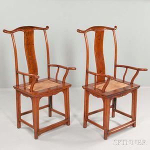 Pair of Elmwood Yoke-back Armchairs