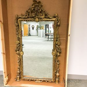 Continental Rococo-style Carved Gilt-gesso Mirror