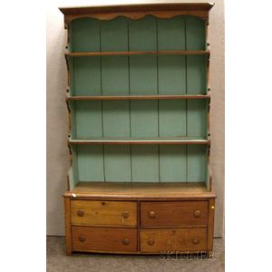 Country Pine Step-back Open Cupboard over Four Drawers