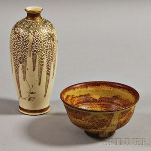 Satsuma Vase and Stoneware Tea Bowl