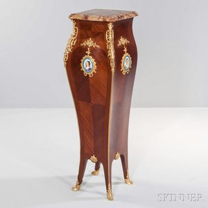Louis XV-style Gilt-bronze and Porcelain-mounted Pedestal